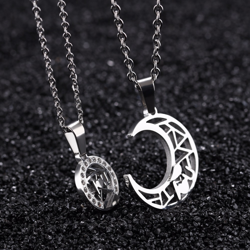 559f312a5a Couple Jewelry For Lovers 316L Stainless Steel Necklace Set Sun And Moon  Necklace Couple Necklaces w/ Cubic Zirconia 1148-in Pendant Necklaces from  Jewelry ...