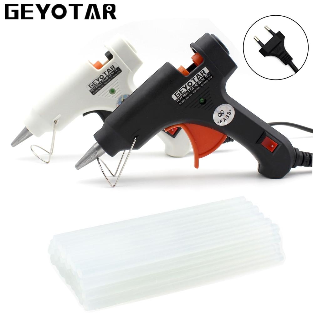 Geyotar 20 Вт ЕС вилку термоклей Пистолеты для склеивания с бесплатной 20 штук 7 мм Клей-карандаш Электрический тепла Температура инструмент промышленной мини пистолеты термо