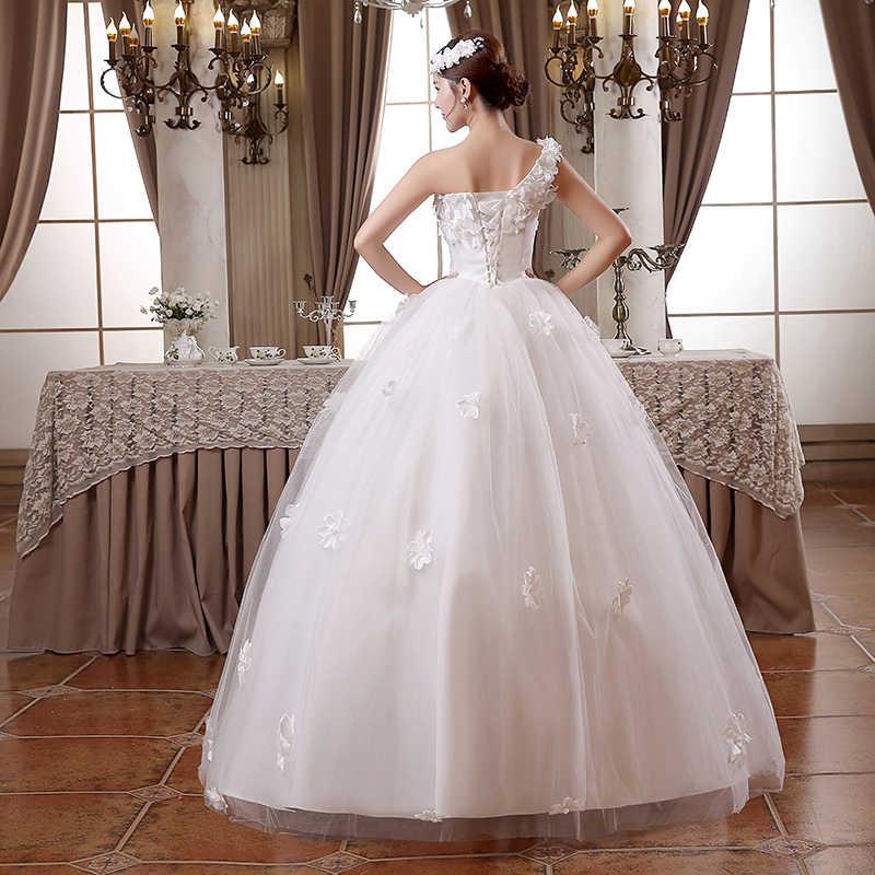 Это YiiYa свадебное платье белое на одно плечо без рукавов Свадебные платья аппликации цветы кружево Принцесса Свадебное бальное платье HS100