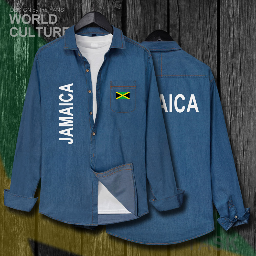 Jamaica JAM Jamaican Men Flags Tops Autumn Cotton Turn-down Collar Jeans Shirt Long Sleeve Fashion Cowboy Coat Casual Clothes