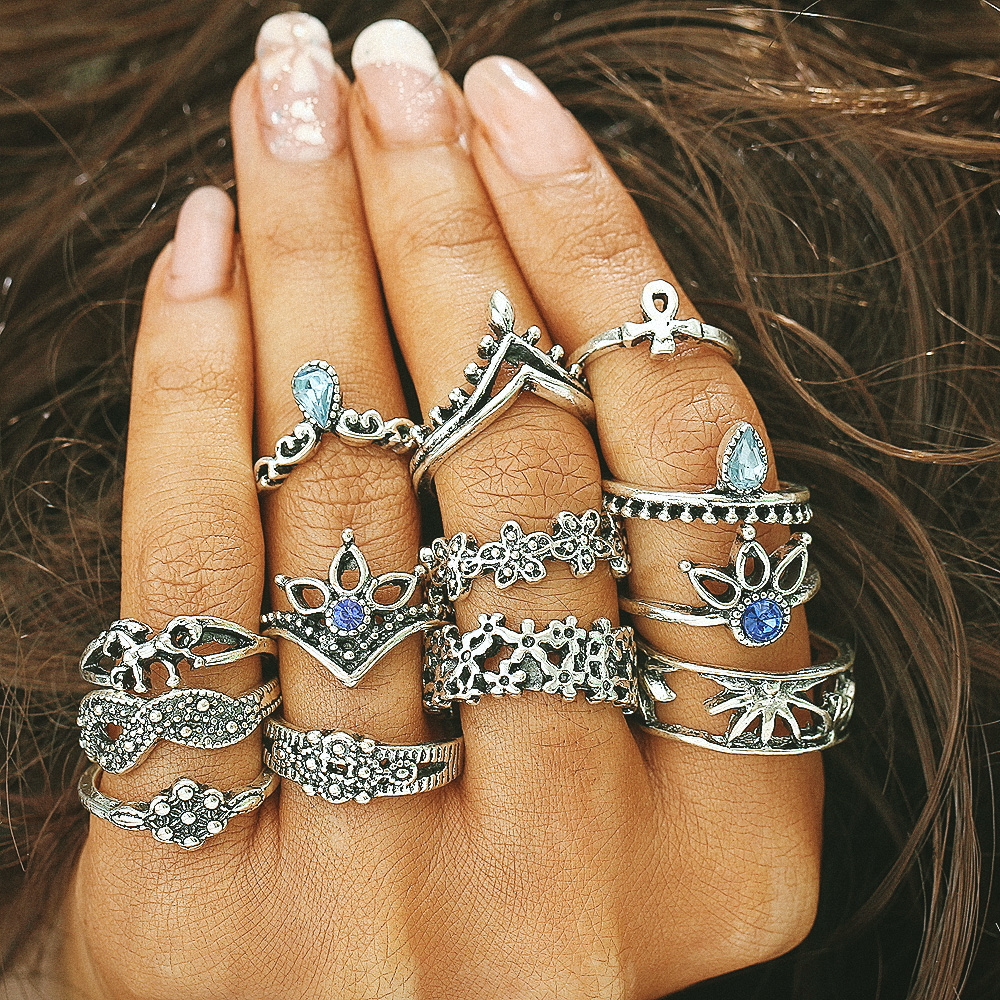 13 PCS/Set Retro Carved Silver Gold Color Flower Round Midi Ring Sets Knuckle Rings for Women Ladies Finger Vintage Boho Anel