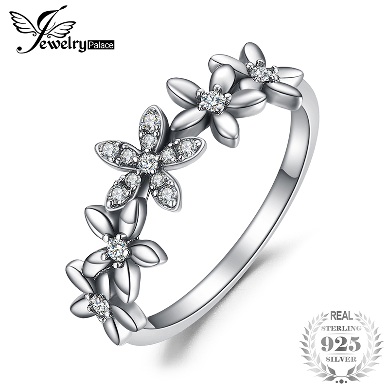 JewelryPalace Vintage Flowers Cluster Cubic Zirconia Fancy Rings 925 Sterling Silver Fashion Jewerly For Woman 2018 Hot Selling