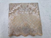 New Fashion African Fabric Lace French Beads Lace Fabrics For Nigeria Evening Dress High Quality Organza Lace Fabric Gold(5 19