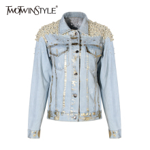 TWOTWINSTYLE Pearls Denim Coat For Women ...