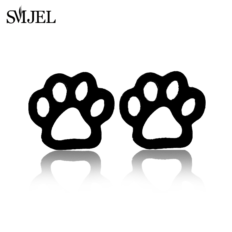 SMJEL Cute Animal Print Pet Paw Earrings Black Stainless Steel Jewelry Punk Dog Cat Paw Earring Studs Boucle D'oreille Femme