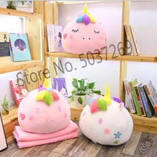 New to color unicorn filled 2 in 1 pillow inner blanket, soft plush rainbow head childrens toys