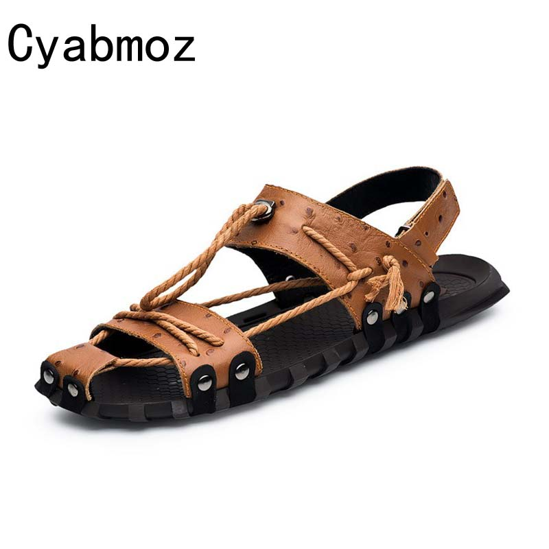 Cyabmoz Real Genuine Leather Big Size 38-47 Men Summer Sandals Handmade Shoes For Mens Stylish Comfort Seaside Beach Flats 2017