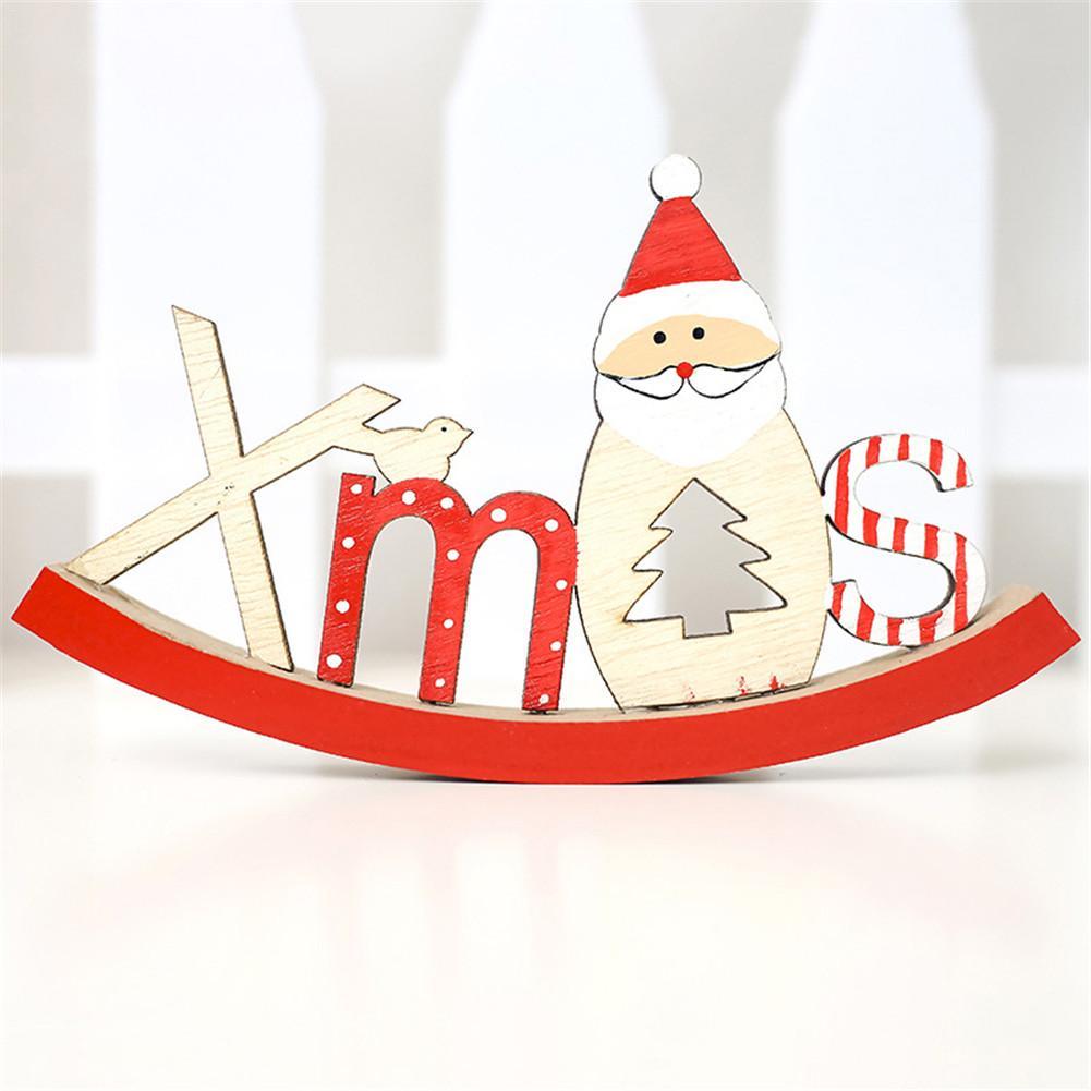 Baru Kayu Natal Santa Claus Alphabet Dibagi Menjadi Ornamen