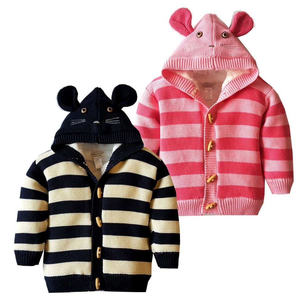 Autumn and winter children are cute Cotton thread Knitted sweaters Boy and girl stripes Plus velvet warm Christmas coat children autumn and winter warm clothes boys and girls thick cashmere sweaters