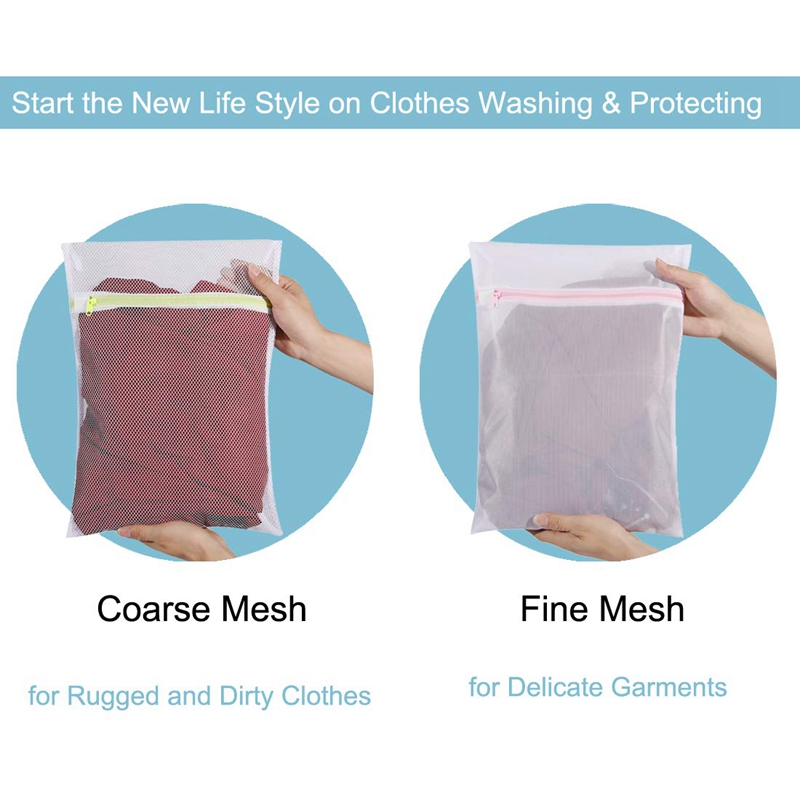 Mesh Laundry Bag Set Of 6 (Coarse And Fine Mesh, 3+3) Washing Bag To Protect Clothes For Washer And Dryer, Travel Storage Bag,