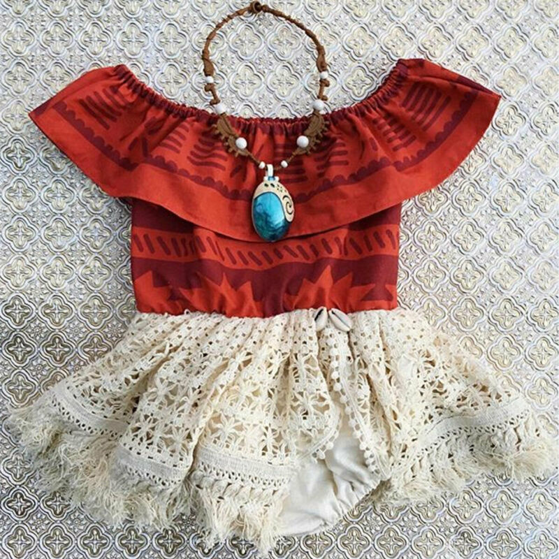 Princess Infant Baby Big Sister Children Clothes Girls Moana Fancy Dress Bodysuits Costume Family Matching Outfits