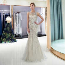 Light Gray Evening Dresses 2019 O-Neck Mermaid Sleeveless Long Luxurious Beading Party Gowns Sequined Keyhole Back Formal Dress