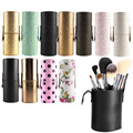 Travel Leather Makeup Brush Pen Storage Empty Holder Cosmetic Cup Case Box