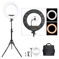 Fosoto FT-R480 18 Lámpara de anillo 3200-5800K iluminación fotográfica regulable Led anillo luz trípode espejo para teléfono cámara foto y vídeo