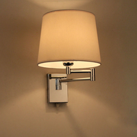 Modern brief wall lamp American personality lighting fabric lampshape wall lamp bedroom bedside E27 bulb light