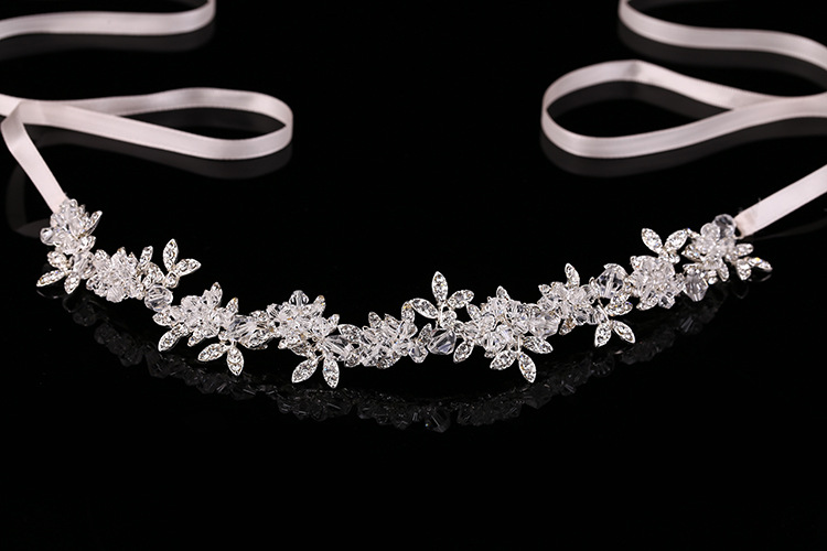 New Arrival Noble Crystal Rhinestone Bridal Headpieces Satin Ribbon Wedding Hair Accessories for Brides Tiaras Crowns Headbands 2