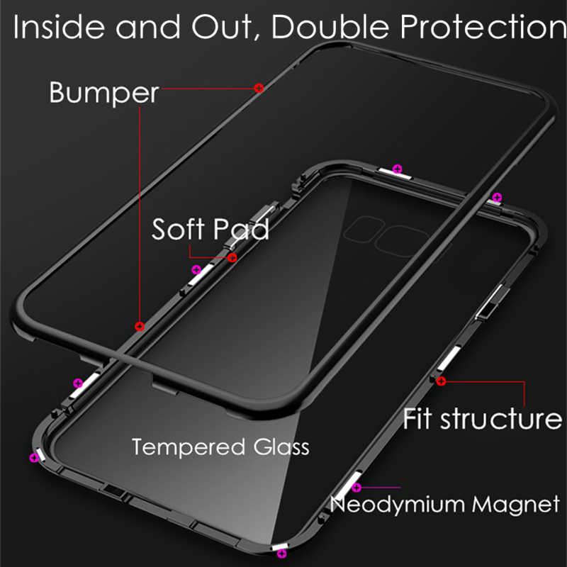 การดูดซับแม่เหล็กกรณีโลหะสำหรับ Samsung Galaxy S8 S9 S10 Plus S10E S7 Edge M30 M20 M10 A30 A50 A60 a70 A7 A9 J4 J6 Plus 2018