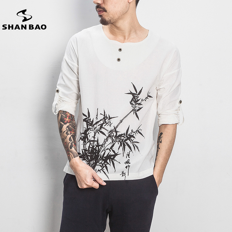 Spring 2018 new high-quality cotton bamboo printed men's casual long-sleeved T-shirt original Chinese style brand T-shirt male