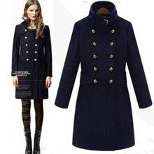 Новинка, модное шерстяное пальто со стоячим воротником, женское осеннее зимнее пальто, тонкое синее пальто размера плюс, шерстяное пальто