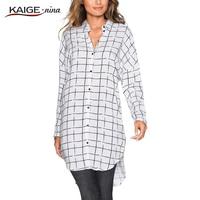Blouse Women Tops Autumn Women Office Casual Fashion Loose Blouse Plus Size Women Clothing Lady Long