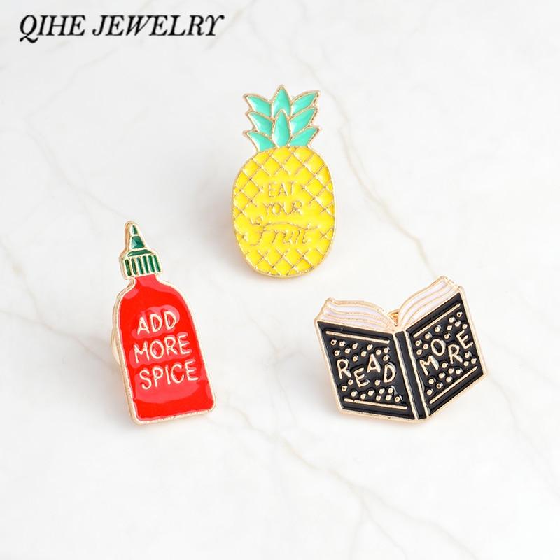 Qihe ювелирной эмалью контакты книга ананас spice контакты бутылки узнать больше, добавить больше специй, ухо фруктов значки Смешные Pins ювелир... ...