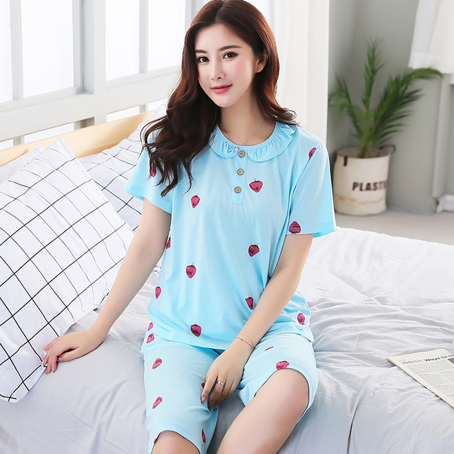 40ce6d347f Brand Summer Elegant Women s Pajamas Cotton Pajama Sets Female Sleepwear  Mujer Girls Pyjamas Plus Size 3XL Casual Home Clothing