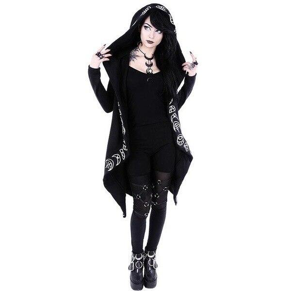 Punk Gothic Women Long Hoodie Casual Hoodies Sweatshirt Women  Long Sleeve Streetwear Harajuku Hoodie Oversized Jacket Coat