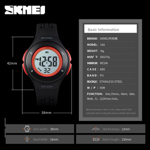 Image 5 - SKMEI Kids Watch LED Sport Style Children Watches Boy Girl Fashion Digital Watch 5Bar Waterproof Watch montre enfant 1455