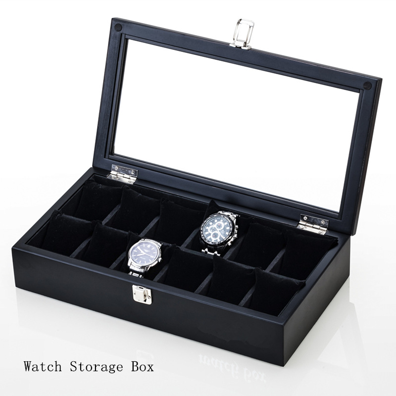Top 12 Slots Luxury Wood Watch Box Brand Black Mens Watch Storage Box With Window Fashion Jewelry Display Cases Gift Box C042 watchcase storage luxury 22 slots 2 layer wood glossy lacquer watch box jewelry collection display drop shipping supply