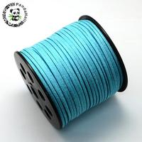 Korea Faux Suede Cords With Glitter Powder SkyBlue 2 7x1mm About 100yards Roll