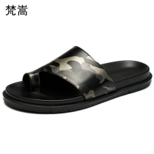 Genuine Leather mens flip-flops men fashion casual sandals half-slippers one-word slippers outdoors cowhide summer Flip Flops