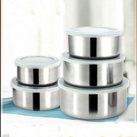 5 Pieces Set Hot Sale Stainless Steel Fresh Box Creative Kitchenware Dinner Bowl Lunch Box With