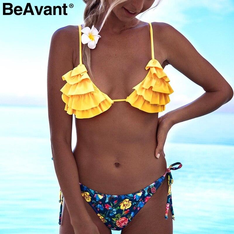 BeAvant Sexy triangle swimwear women bodysuit Push up beach summer   jumpsuit   Bohemian print ruffles two piece set playsuit 2019
