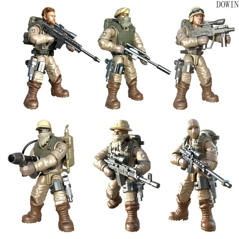 6pc/set Compatible call of military duty mini soliders figures Army weapons guns model building blocks Model Dolls bricks kit image
