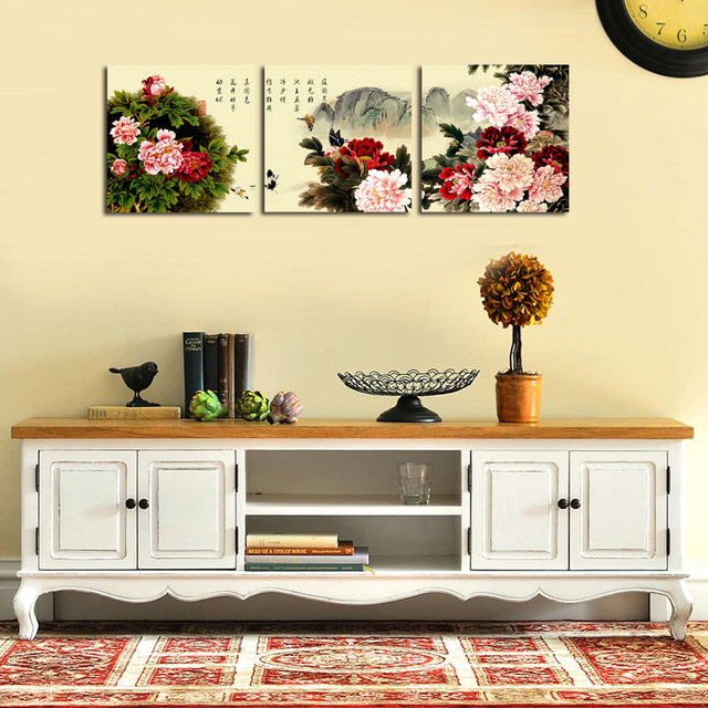 Online Shop Modern Chinese Peony Flower Painting Canvas Print Wall ...