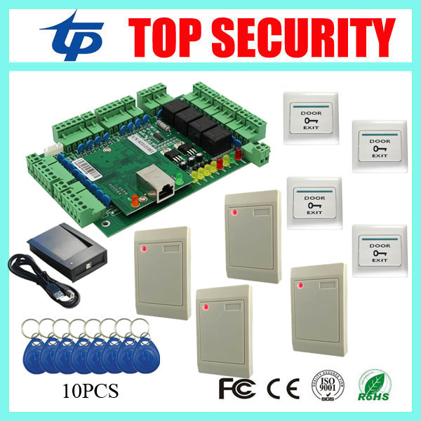 Full security remote control door access control system with TCP/IP communication 4 doors access control board with card readers biometric fingerprint access controller tcp ip fingerprint door access control reader