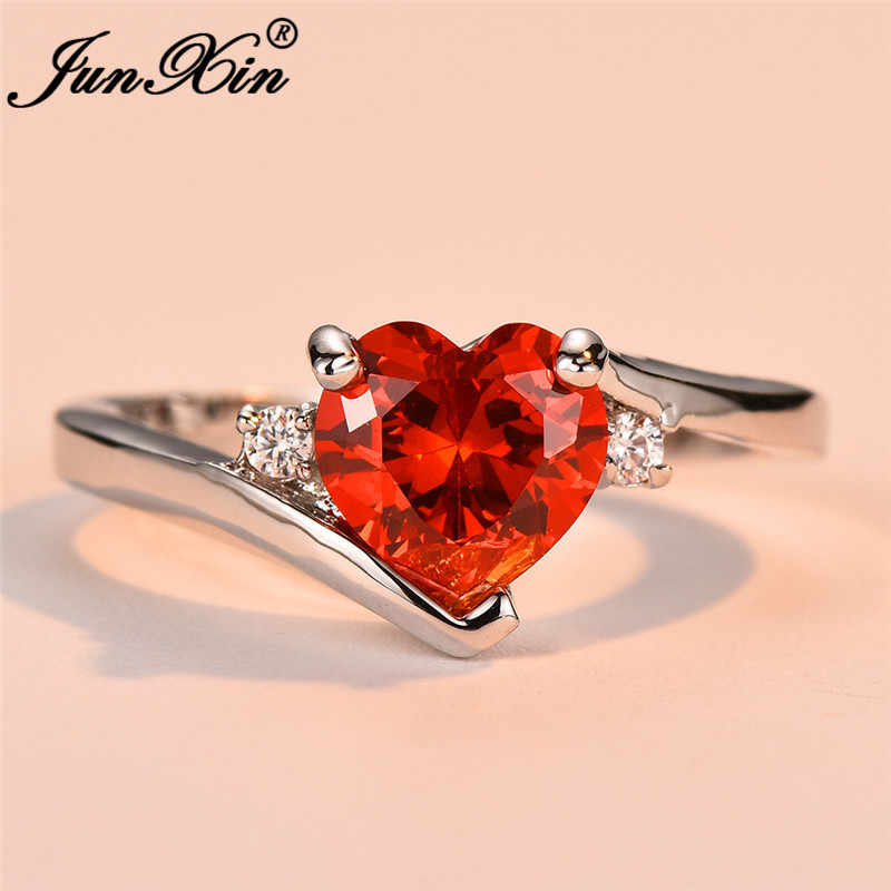 JUNXIN สีฟ้า Birthstone หัวใจแหวน White Gold Filled สีม่วงสีชมพูสีดำ Zircon โอปอลหมั้นแหวนหญิง
