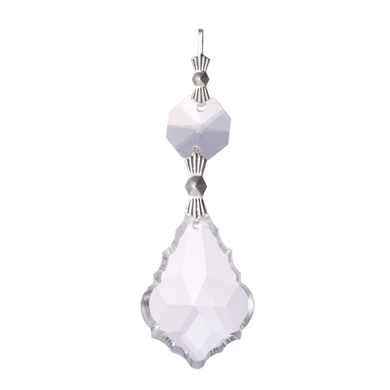 10PCS Clear 38cm French Leaf Silver Bowtie Chakra Spectra Suncatcher Chandelier Glass Crystals Lamp Prisms Parts Hanging Pendant (5)