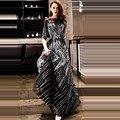 It's YiiYa <font><b>Evening</b></font> <font><b>Dress</b></font> 2018 Sliver Black Sequined O-neck Half Sleeve A-line Floor-length Dinner Gowns LX1304 robe de soiree