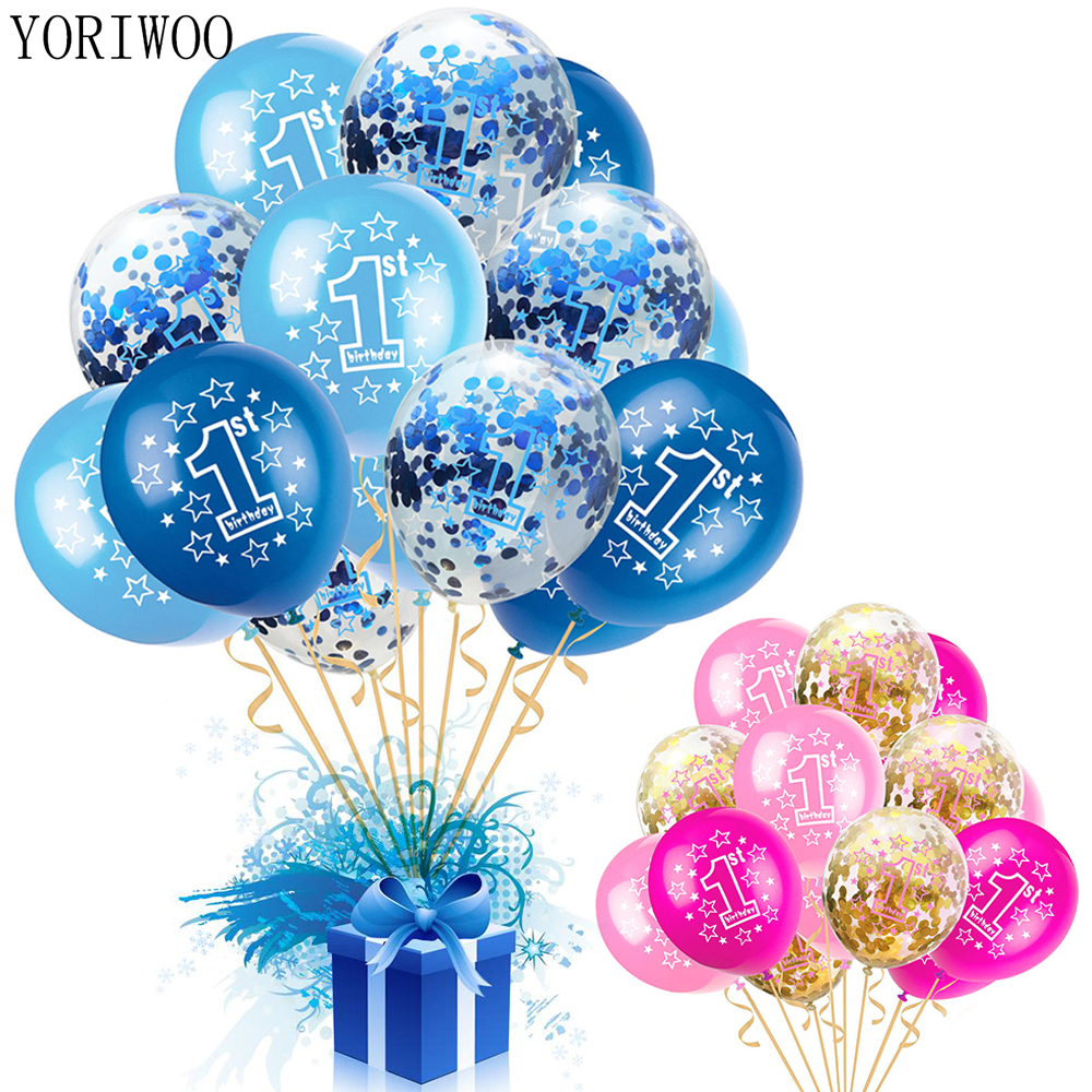 YORIWOO Baby Shower Boy Girl Latex Balloons Confetti Set My 1st Birthday Party Decoration Kids Happy Birthday Balloon <font><b>1</b></font> Year Old image