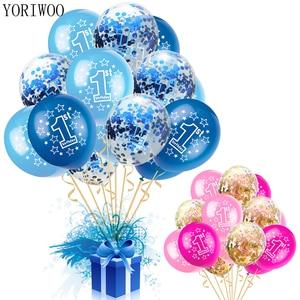 YORIWOO Baby Shower Boy Girl Latex Balloons Confetti Set My 1st Birthday Party Decoration Kids Happy Birthday Balloon 1 Year Old(China)
