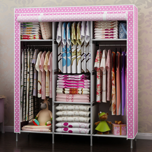 Reinforcing Steel Large Double Wardrobe Simple Cloth Closet. Clothes  Hanging Storage ...