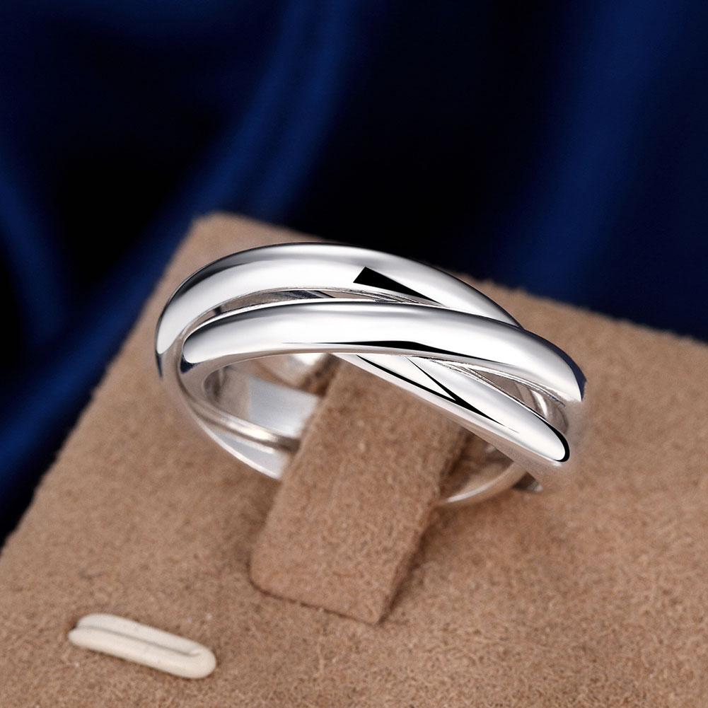 Engagement Rings For Women Silver Plated Fashion Anillos Mujer Jewelry Three Circles Ring Men Top Quality
