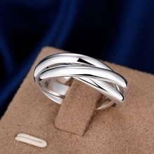 Full Sizes Engagement Rings For Women Silver Plated Fashion Anillos Mujer Jewelry Three Circles Ring Men Top Quality