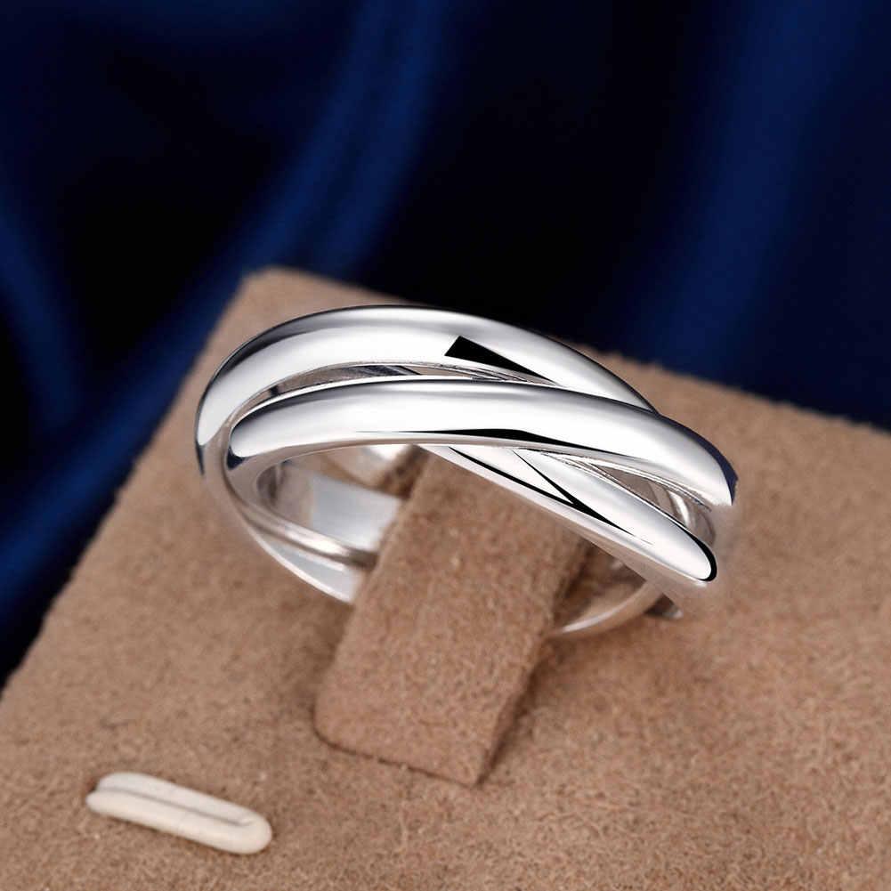 Tamanho completo anéis de noivado para mulher banhado a prata moda anillos mujer jóias três círculos anel masculino qualidade superior