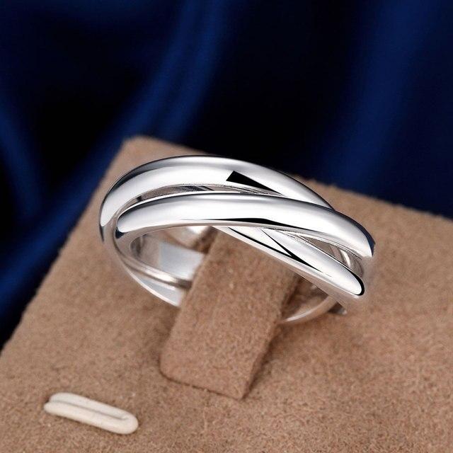 Tamanhos completos Anéis de Noivado Para As Mulheres de Prata Banhado A Moda Jóias Três Círculos Anel Anillos Mujer Homens Qualidade Superior