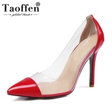TAOFFEN Shoes Woman Plus Size 31-47 High Heels Pumps Women Shoes High Heels Wedding Shoes Pumps Red Black Nude Sexy Shoes Heels(China)
