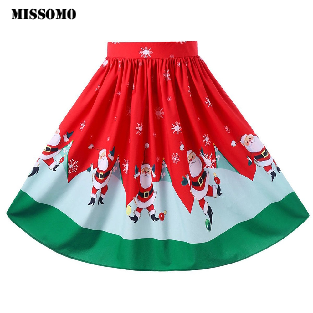 MISSOMO Clothes Women 2020 Sexy Christmas Santa Printed Swing Performance cartoon skirt A-Line Loose Skirt