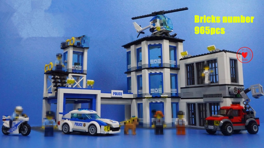 New City Police Station fit legoings city police station swat figures Building Blocks Bricks kids boys diy Toys 60141 gift kid