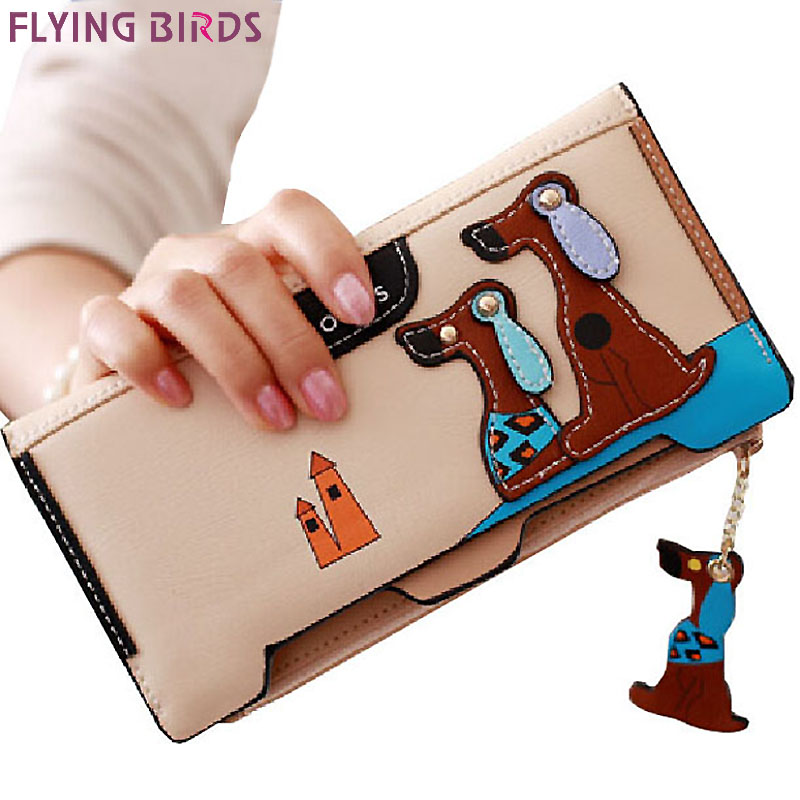 FLYING BIRDS women wallet leather purse dollar price women's purse summer style card holder high quality carton wallets LM3092fb women wallet 2017 high quality leather dollar price women purse card holder female purse with phone holder carteira feminina